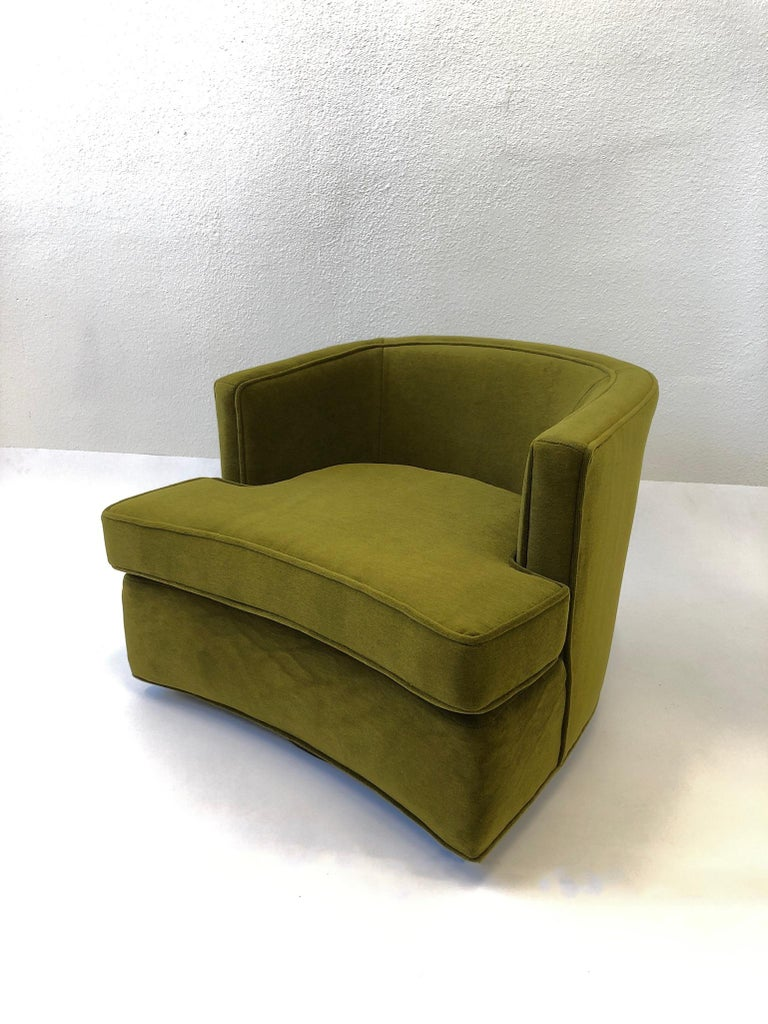 Pair of Olive Green Mohair Swivel Lounge Chairs by Harvey Probber For Sale 1