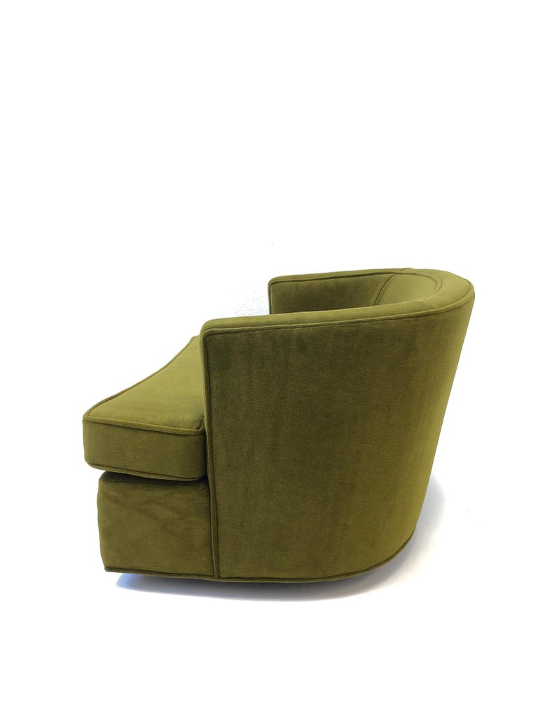 Pair of Olive Green Mohair Swivel Lounge Chairs by Harvey Probber For Sale 3