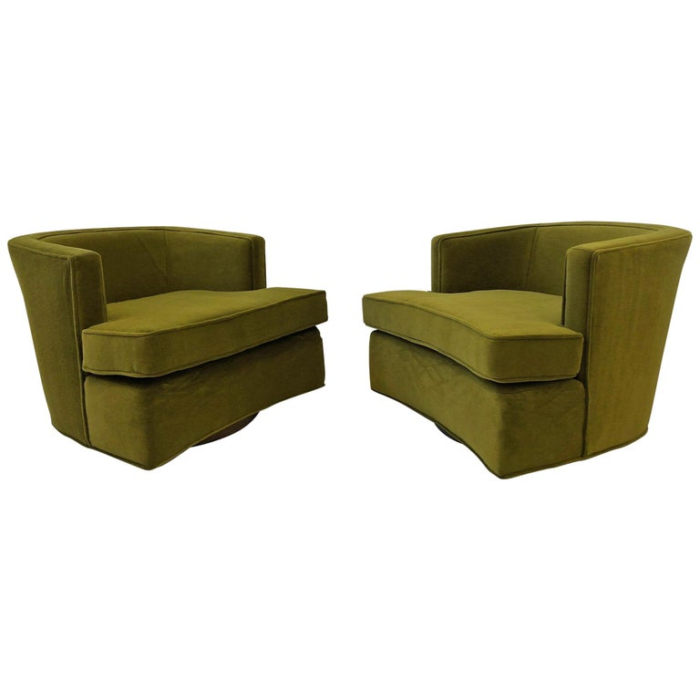 Pair of Olive Green Mohair Swivel Lounge Chairs by Harvey Probber For Sale