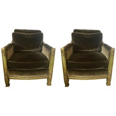 Pair of Olive Green Mohair Velvet Neoclassical Club Chairs Drexel Heritage