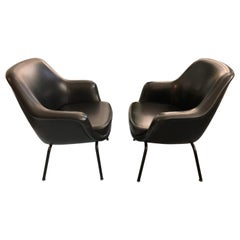 Pair of Olli Mannermaa Armchairs by Cassina, Italy, 1960s