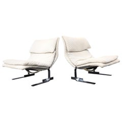 Pair of Onda Wave Lounge Chairs by Giovanni Offredi for Saporiti, Italy, 1970s