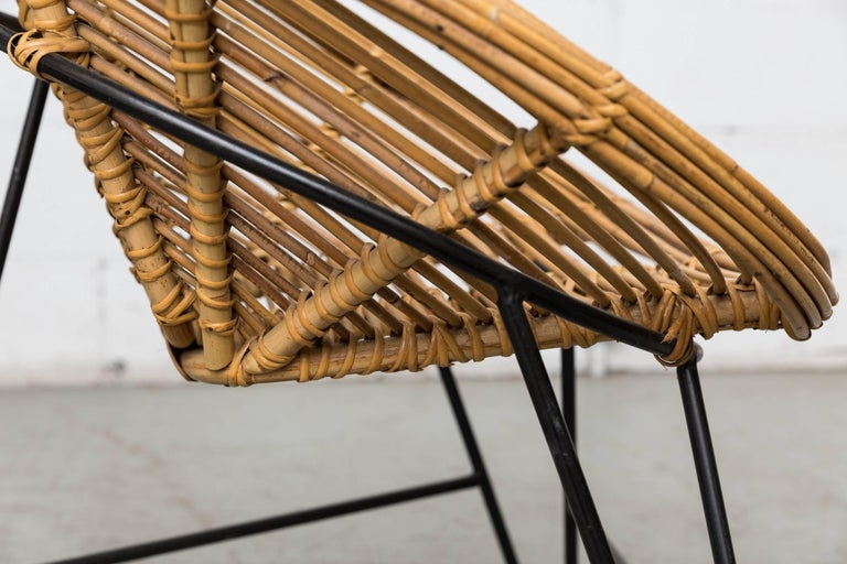 Pair of Onion Skin Patterned Bamboo Hoop Chairs For Sale 2