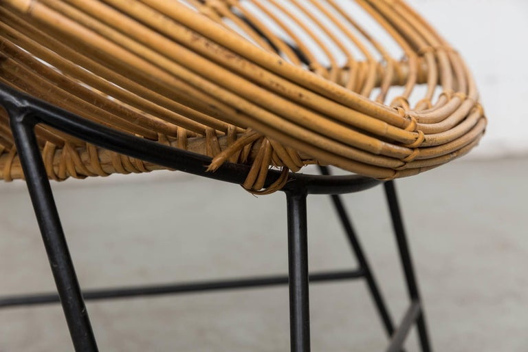 Pair of Onion Skin Patterned Bamboo Hoop Chairs For Sale 3
