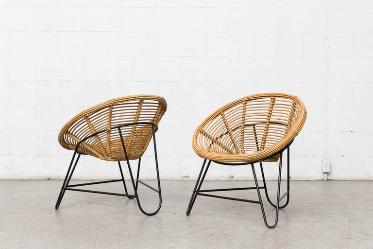 Dutch Pair of Onion Skin Patterned Bamboo Hoop Chairs For Sale