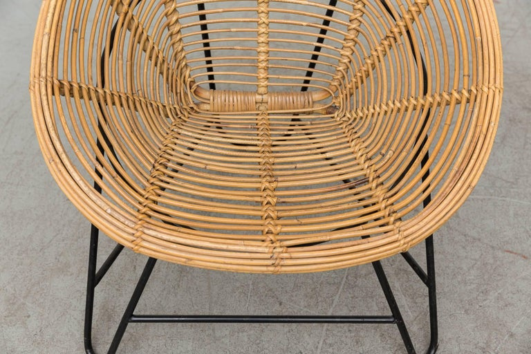 Pair of Onion Skin Patterned Bamboo Hoop Chairs In Good Condition For Sale In Los Angeles, CA