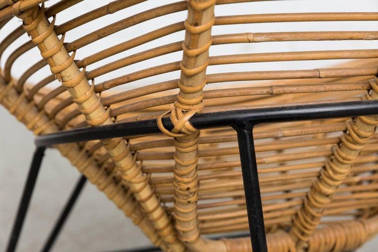 Metal Pair of Onion Skin Patterned Bamboo Hoop Chairs For Sale
