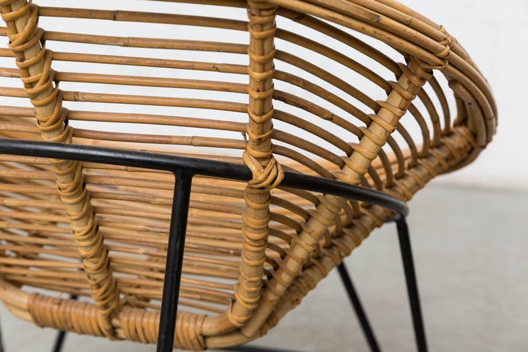 Pair of Onion Skin Patterned Bamboo Hoop Chairs For Sale 1