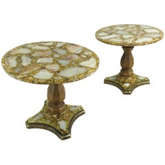 Pair of Onyx Abalone Shell Gold Glitter Cocktail Tables by Arturo Pani