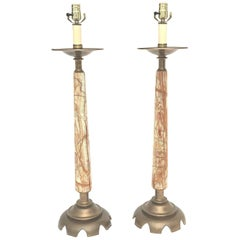 Pair of Onyx and Bronze Table Lamps