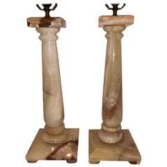 Pair of Onyx Column Lamps