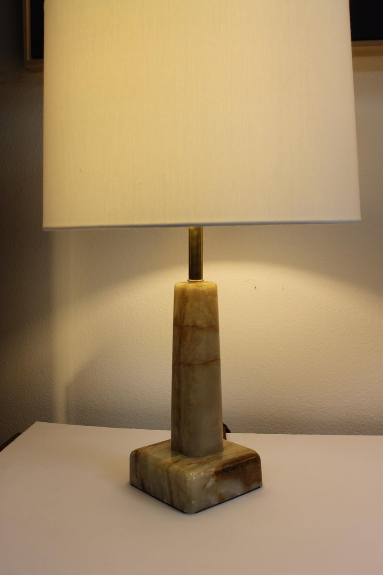 American Pair of Onyx Lamps For Sale