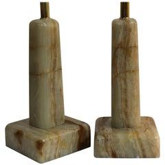 Pair of Onyx Lamps