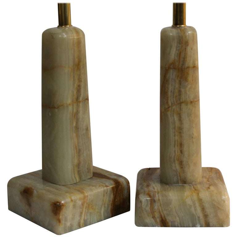 Pair of Onyx Lamps For Sale