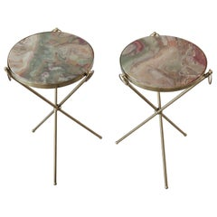 Pair of Onyx Marble and Brass Drink Side or Occasional Tables