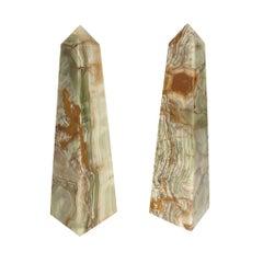 Pair of Onyx Marble Obelisks