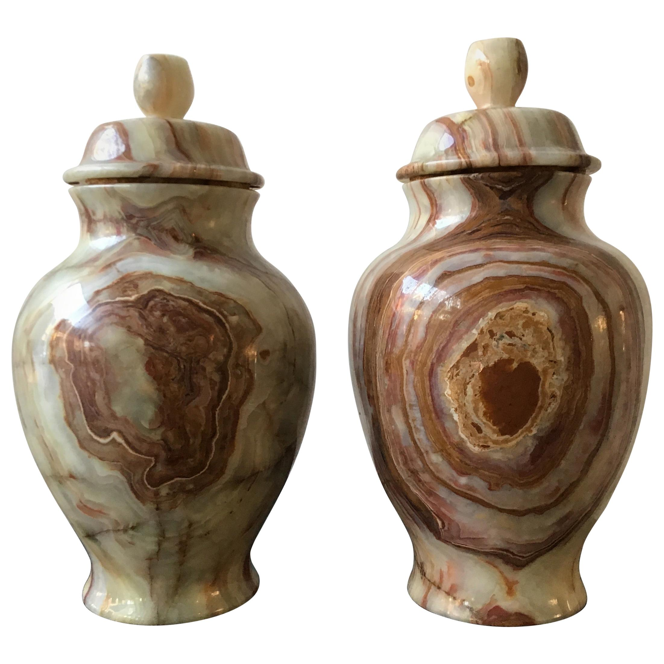 Pair of Onyx Urns