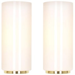 Pair of Opal Glass Sconces Designed by Limburg, Germany