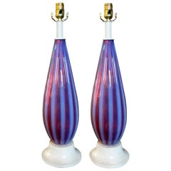 Pair of Opalescent Murano Glass Lamps Attributed to Seguso