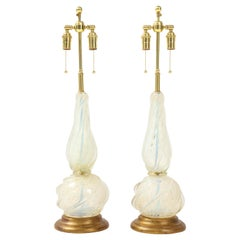 Pair of Opalescent Murano Glass lamps by Seguso