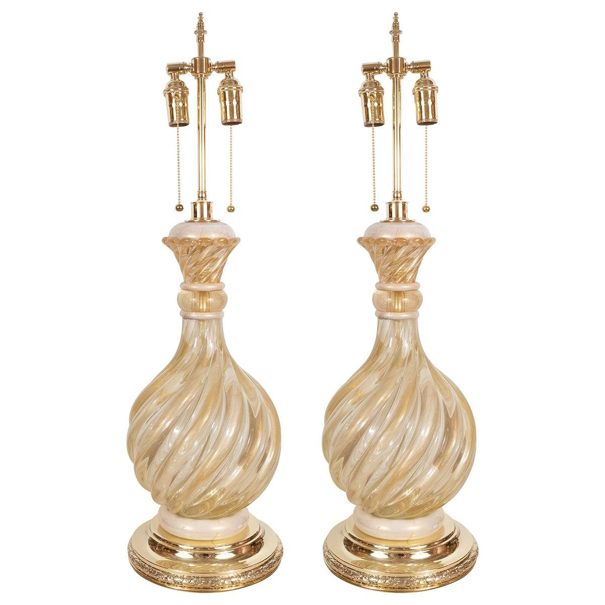 Pair of Opaline and Gold Fluted Murano Lamps