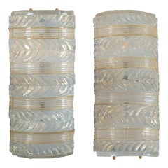 Pair of Opaline and Gold Glass Sconces