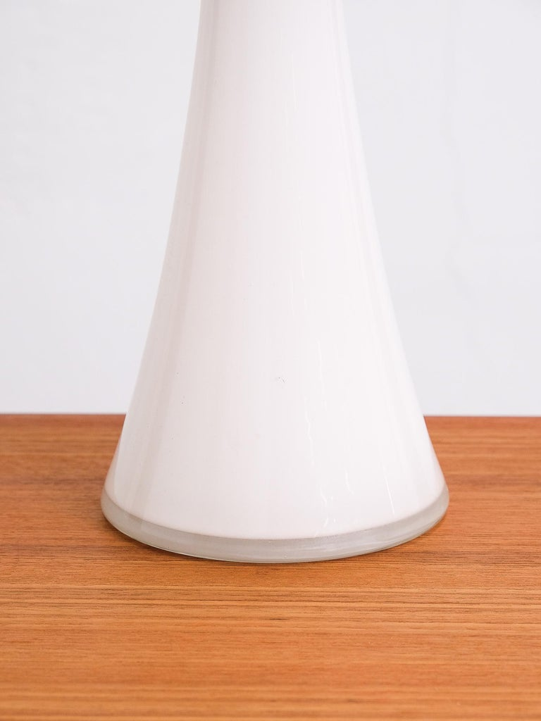 Pair of Opaline Glass and Teak Table Lamps from Bergboms, Sweden, 1960s In Good Condition For Sale In Helsinki, FI