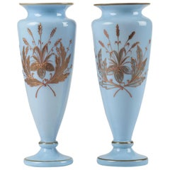 Pair of Opaline Glass Painted Victorian Vases