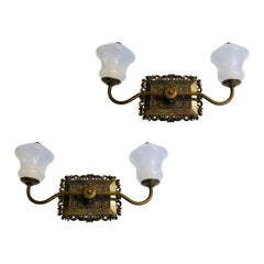 Pair of Opaline Glass Sconces
