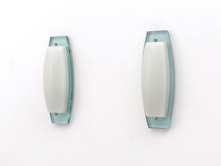 Italian Pair of Opaline Glass Sconces with Thick Aquamarine Glass Structures Italy 1970s For Sale
