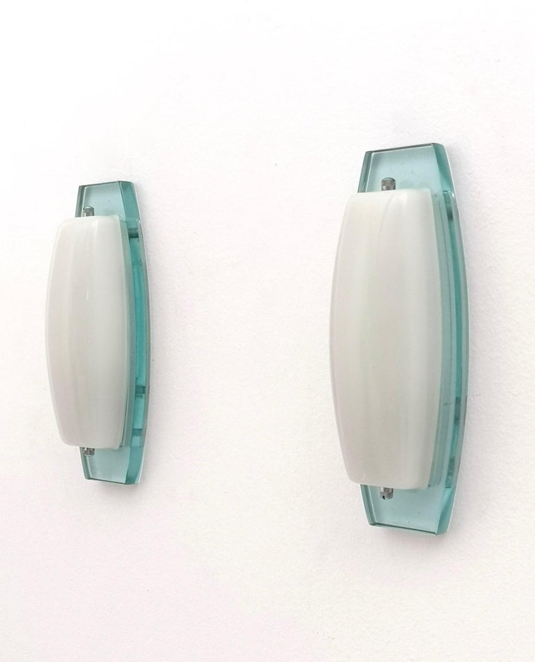 Pair of Opaline Glass Sconces with Thick Aquamarine Glass Structures Italy 1970s In Excellent Condition For Sale In Bresso, Lombardy