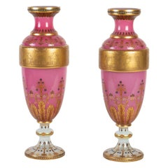Pair of Opaline Vases, Moser, Lined with White and Pink Opaline