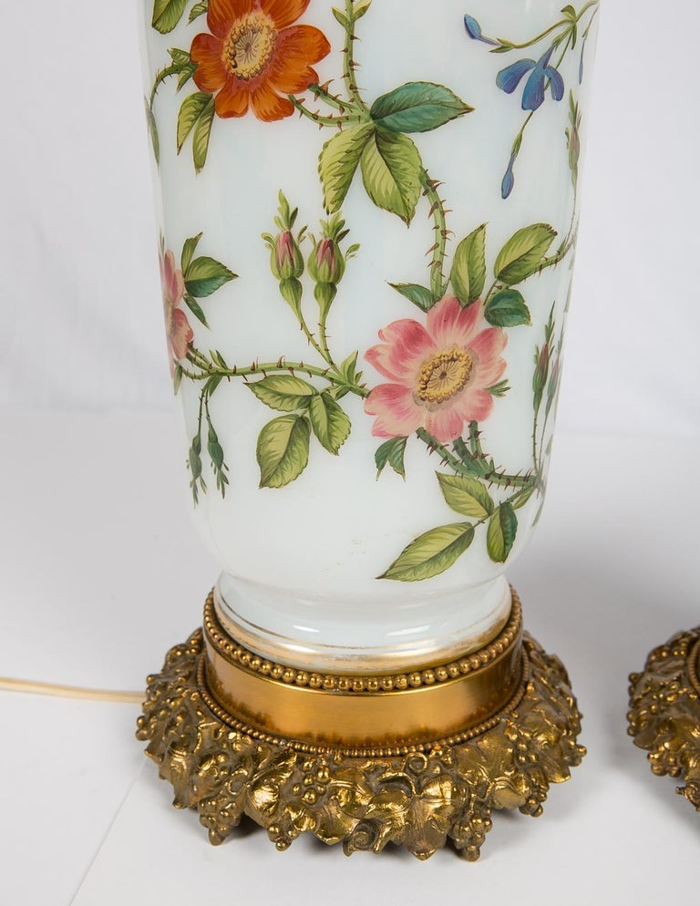 Pair Hand-Painted Opaline Vase Lamps Made in France ca. 1840 Newly Electrified For Sale 8