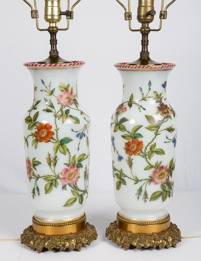 Pair Hand-Painted Opaline Vase Lamps Made in France ca. 1840 Newly Electrified In Excellent Condition For Sale In New York, NY