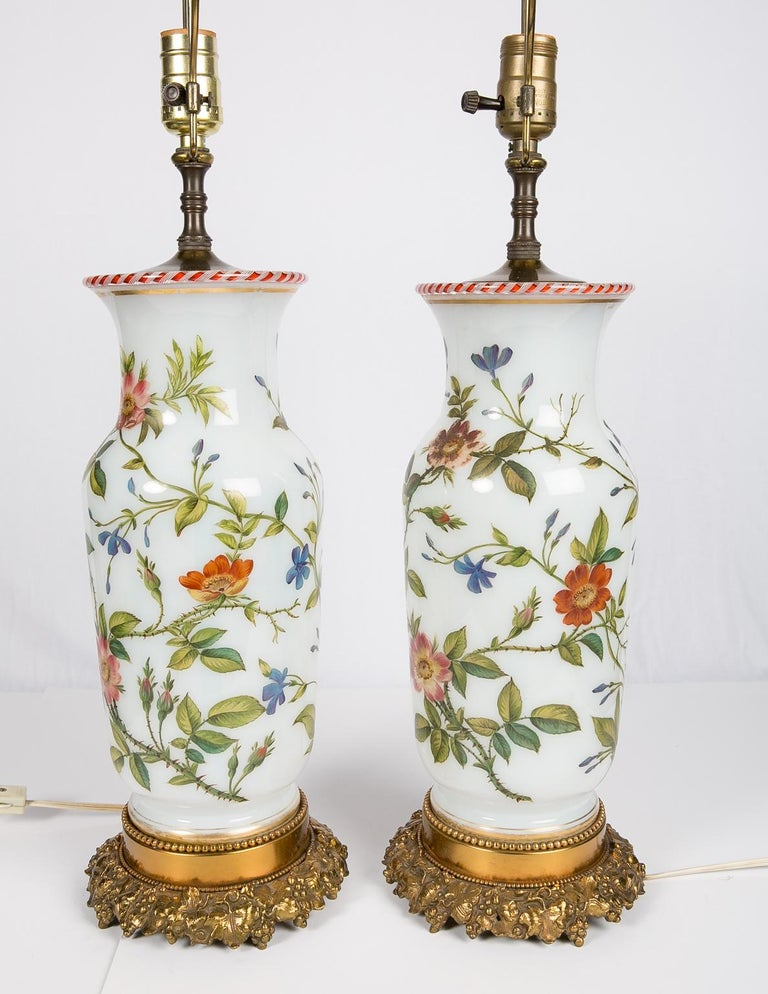Pair Hand-Painted Opaline Vase Lamps Made in France ca. 1840 Newly Electrified For Sale 1