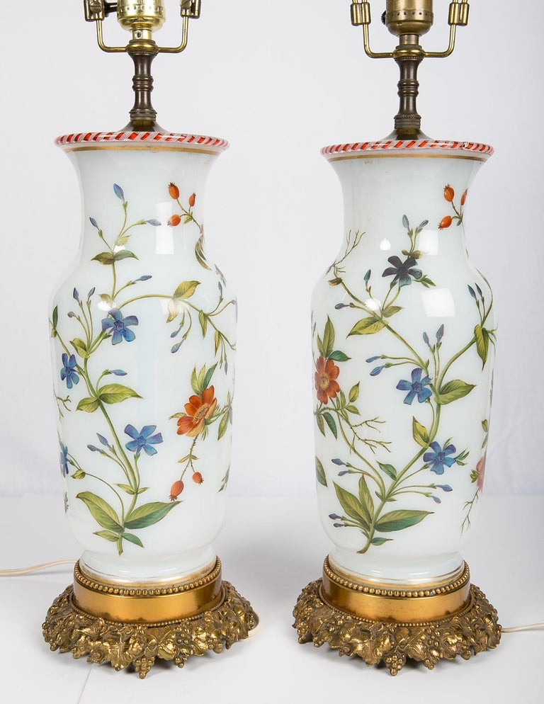 Pair Hand-Painted Opaline Vase Lamps Made in France ca. 1840 Newly Electrified For Sale 2