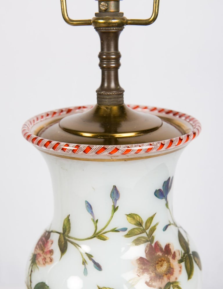 Pair Hand-Painted Opaline Vase Lamps Made in France ca. 1840 Newly Electrified For Sale 4