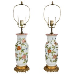 Pair of Opaline Vases Now Lamps Made in France circa 1840