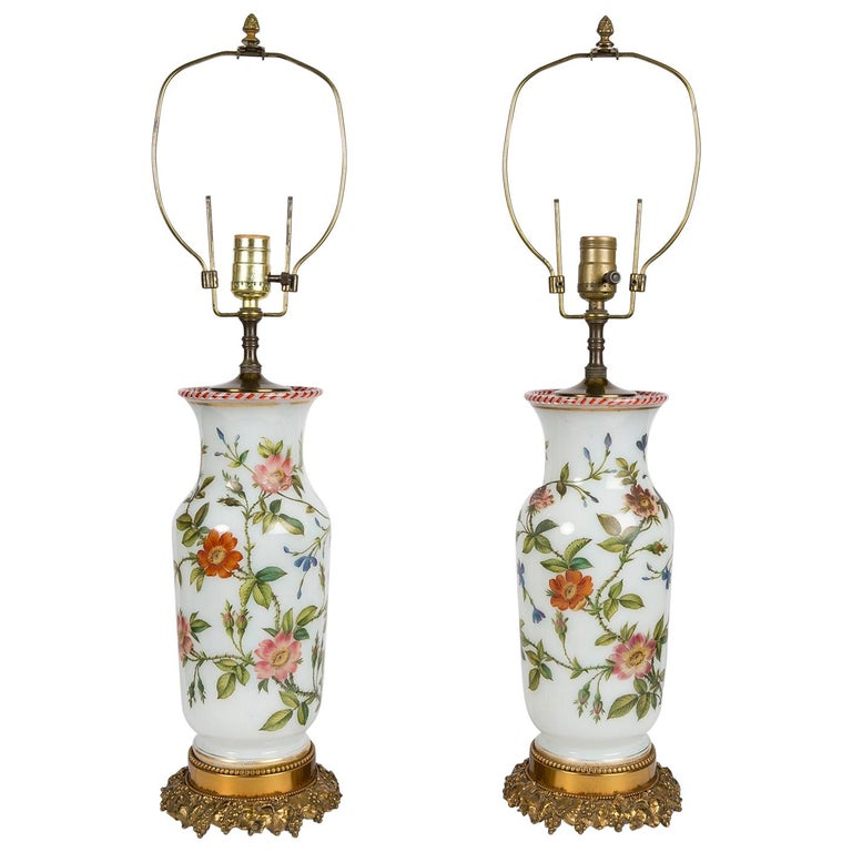 Pair Hand-Painted Opaline Vase Lamps Made in France ca. 1840 Newly Electrified For Sale