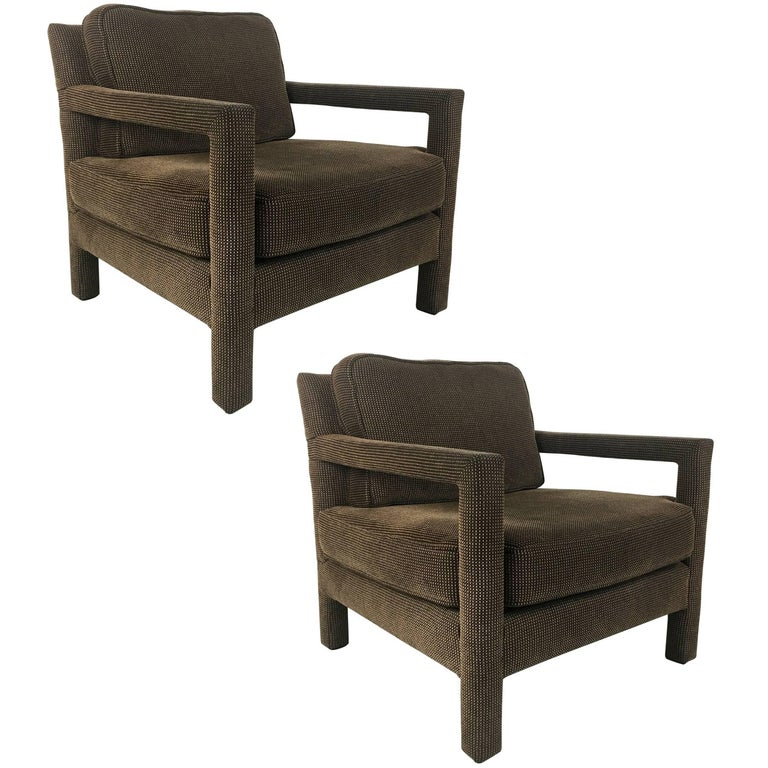Pair of Open-Arm Parsons Club Chairs by Milo Baughman For Sale