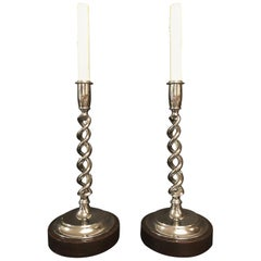 Pair of Open Barley Twist Candlestick Lamps