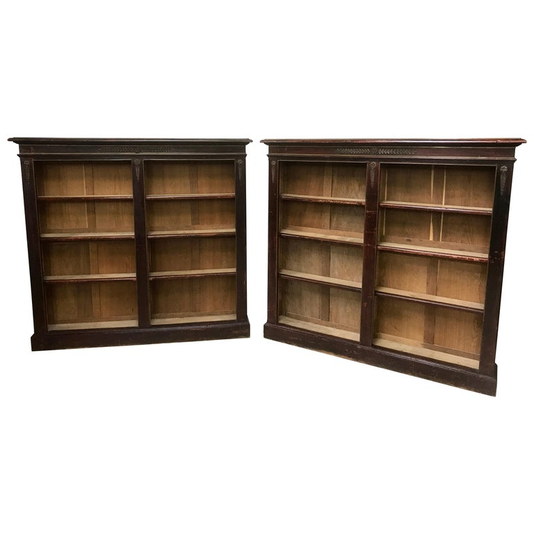 Pair of Open Bookcases For Sale
