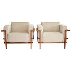 Pair of Open Framed Teak Lounge Chairs After Le Corbusier