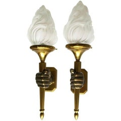 Pair of Opposite Maison Baguès Hand Sconces.2 pairs available.Priced by pair