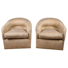 Pair of Opulent J. Robert Scott Upholstered Club Chairs