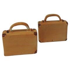 Pair of Orange and Brown Bisque Porcelain Trendy Handbags Salt & Pepper Shakers