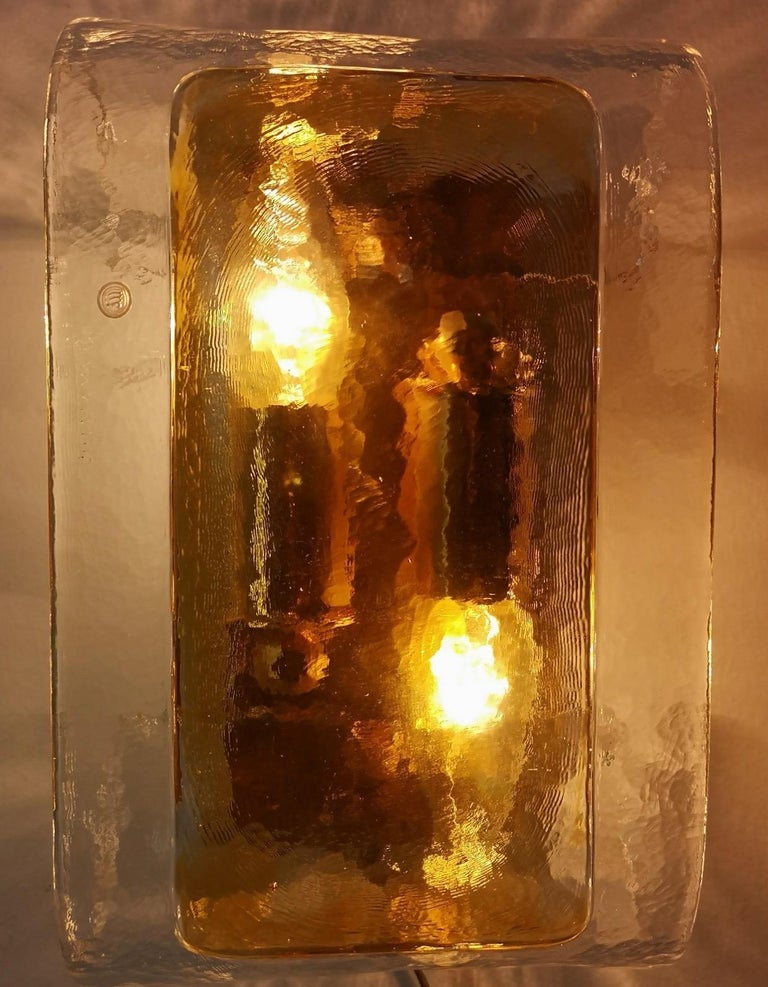 Pair of Orange and Clear Murano Glass Wall Lights by La Murrina, Italy, 1980s For Sale 4