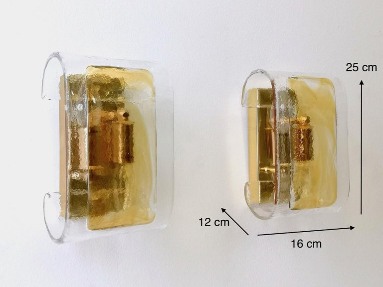Pair of Orange and Clear Murano Glass Wall Lights by La Murrina, Italy, 1980s For Sale 9