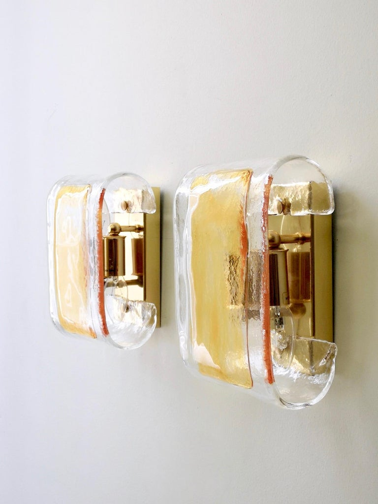 Late 20th Century Pair of Orange and Clear Murano Glass Wall Lights by La Murrina, Italy, 1980s For Sale