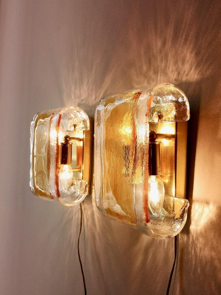 Brass Pair of Orange and Clear Murano Glass Wall Lights by La Murrina, Italy, 1980s For Sale